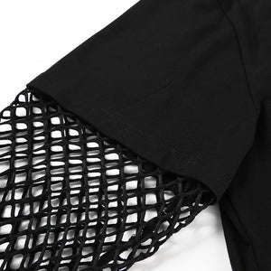 Rock More Black Long Sleeve mesh Hoodie Crop Top