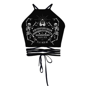 Gothic Black Printed Lace up Backless Tank Tops