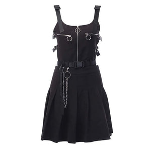 Gothic Pleated Zip Suspender Dress
