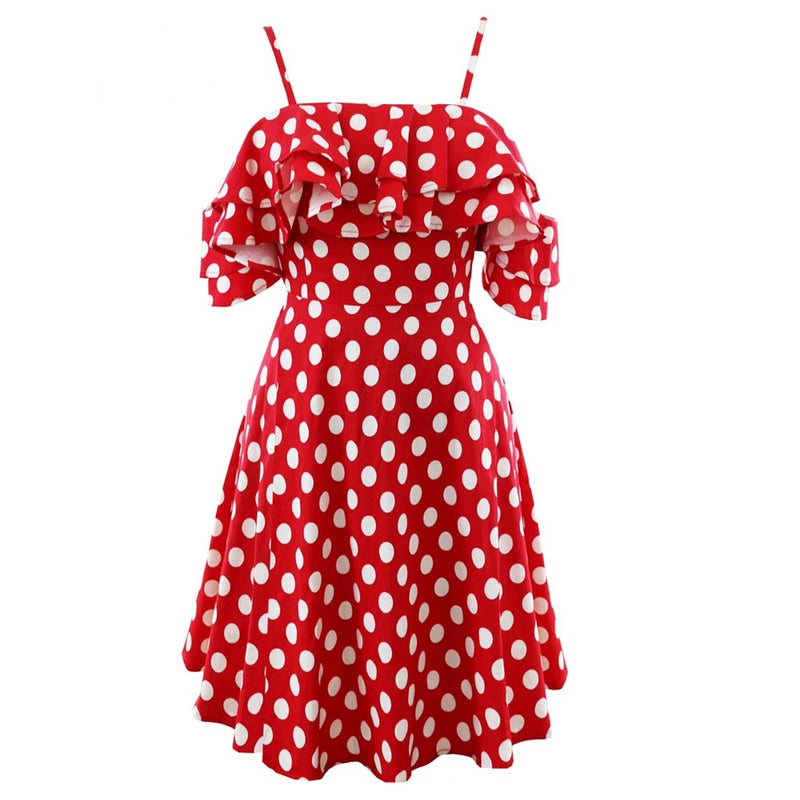 Spaghetti Strap Shoulder Ruffle Red Polka Dots Dress