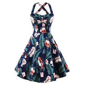 Pinup Tropical Floral Navy Blue Backless Crisscross Strap Dress