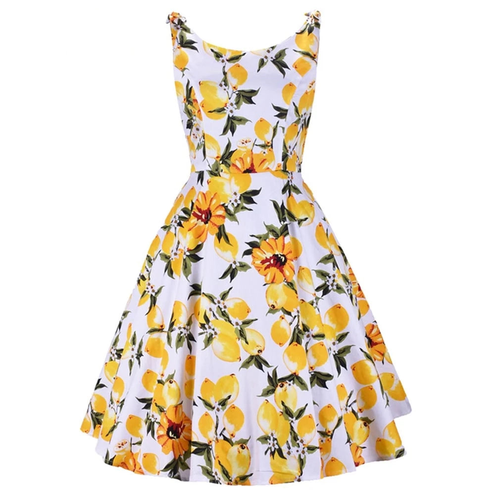 Pinup Yellow Lemon Swing Retro Dress