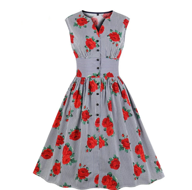 Pinup V-Neck Rose Stripped Button Dress