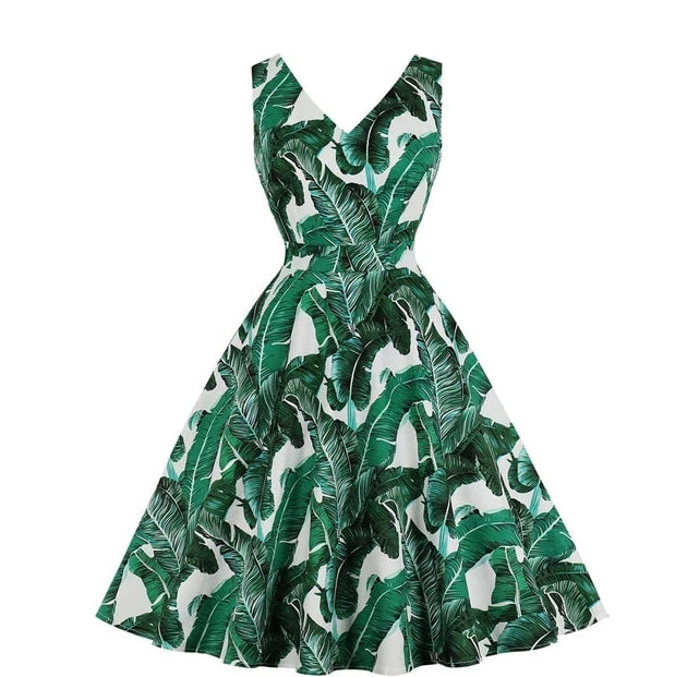 Beach V-Neck Tropical Leaf Vintage Sundress