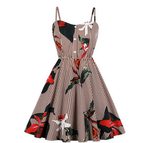 Striped Floral Vintage Spaghetti Strap Dress
