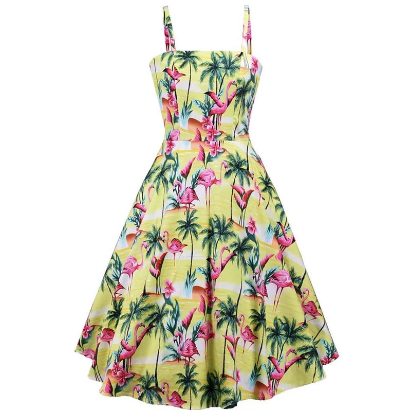 Pin Up Vintage spaghetti Strap Yellow Flamingo Dress