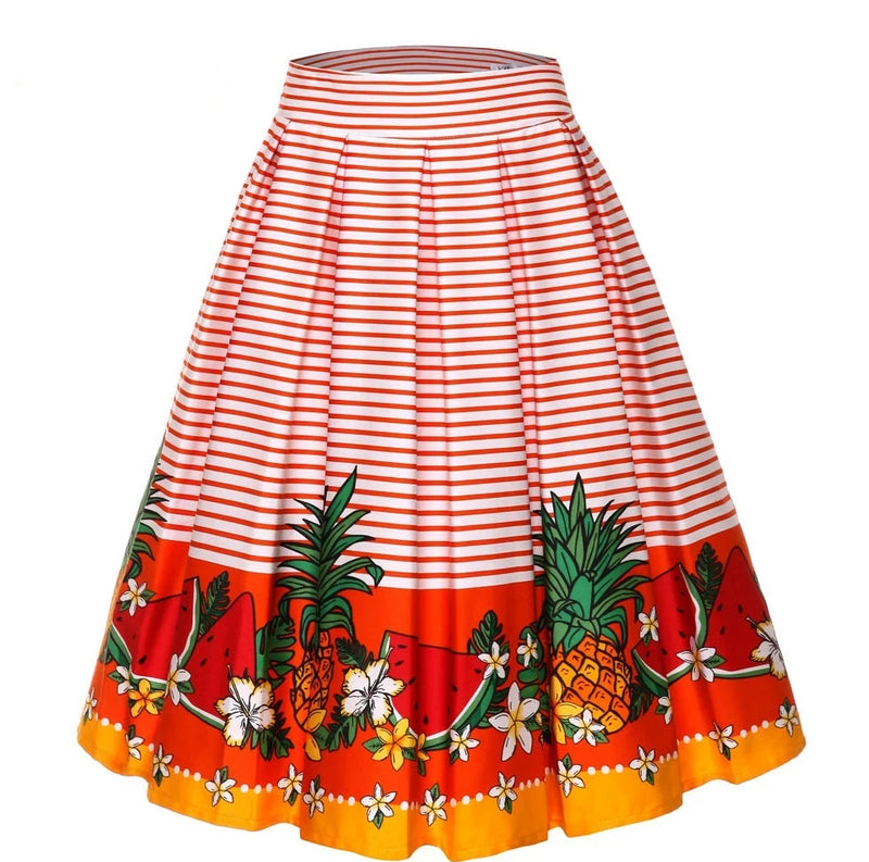 Vintage Floral Print Striped Orange High Waist Skirt