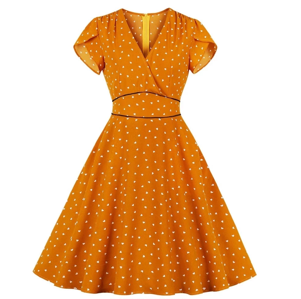 Vintage Style Orange  Heart Polka Dots Pinup Dress
