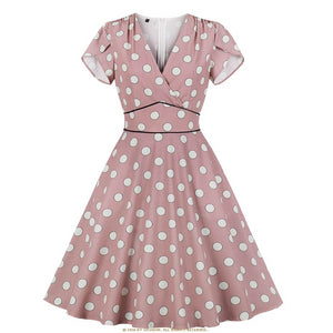 Vintage Style Short Sleeve Pink Polka Dot Pinup Dress