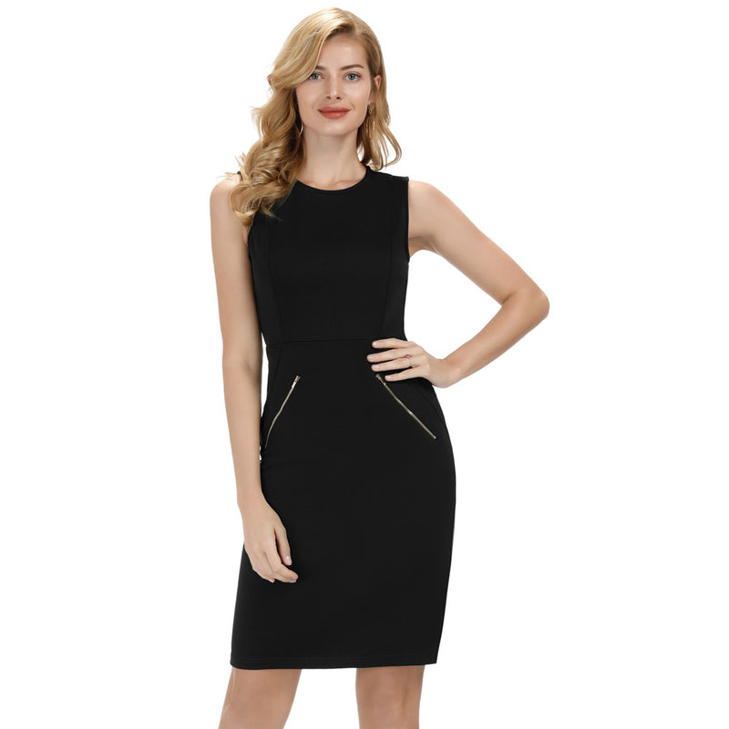 Bodycon Pencil Business Casual Dress with hip Zip details