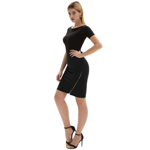 High Waist Business Casual skirt with size slit zipper