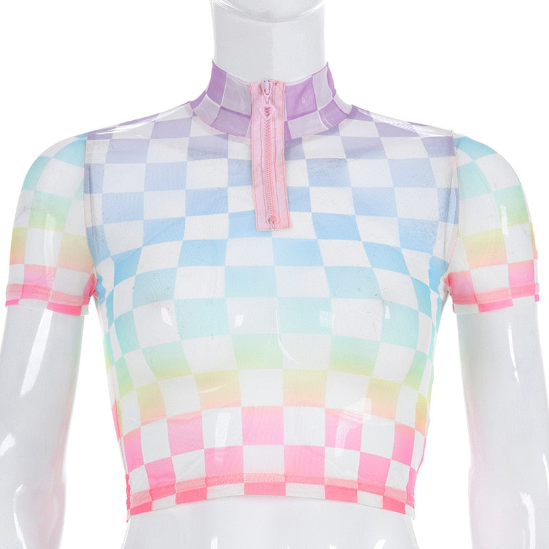 Rainbow Checkerboard Turtleneck Crop Top