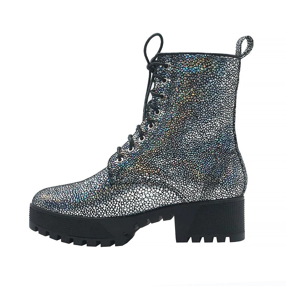 Glitter Galaxy Lace Up Combat Boot