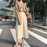 Women Solid Color Loose Fit Skirt Casual High Waist Knitted Medium Long Skirt