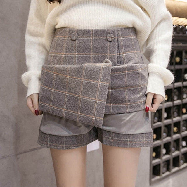 2019 Autumn Winter Plaid Wool Skirt Women's Short Skirt Mini A-line Harajuku Woolen Skirts
