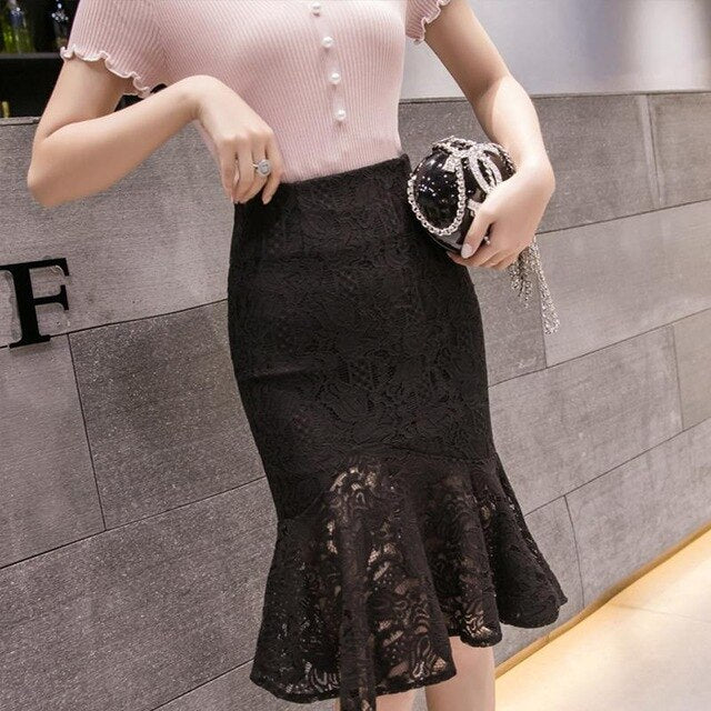 Women Lace Skirt Casual  Patchwork Ruffles High Waist Black Beige Medium Skirt