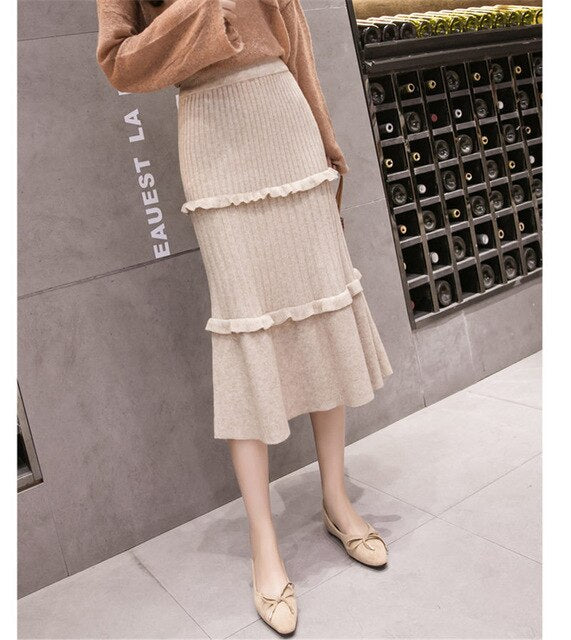 Thick Knit skirt Autumn Winter Women Pleated Skirt Medium Long Solid Color Elastic