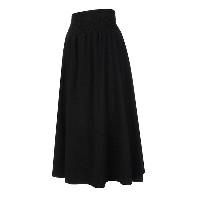 Women Fashion Elastic Waist Solid Pleated Skirt Vintage A-line Loose Long Skirts Summer