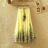 Long Bohemian Chiffon Skirt Ladies Quality Colorful Print Summer Woman Clothes