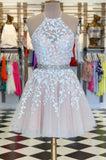 Lace Homecoming Dress Halter Neckline, Short Prom Dress, Evening Dress ,Winter Formal Dress, Pageant Dance Dresses, Back To School Party Gown, PC0580 - Promcoming