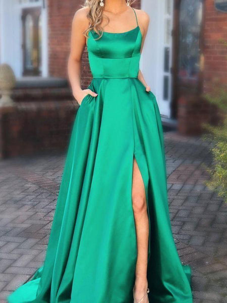 Green Satin Prom Dress Long with Slit and Pockets
