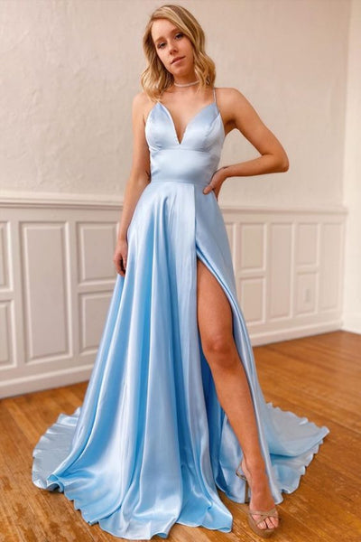 Sexy Prom Dress with High Slit Skirt, Winter Formal Dress, Pageant Dance Dresses, Back To School Party Gown, PC0689