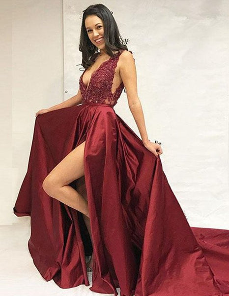 Sexy Prom Dress Slit Skirt, Evening Dress, Pageant Dance Dresses, Graduation School Party Gown, PC0017 - Promcoming