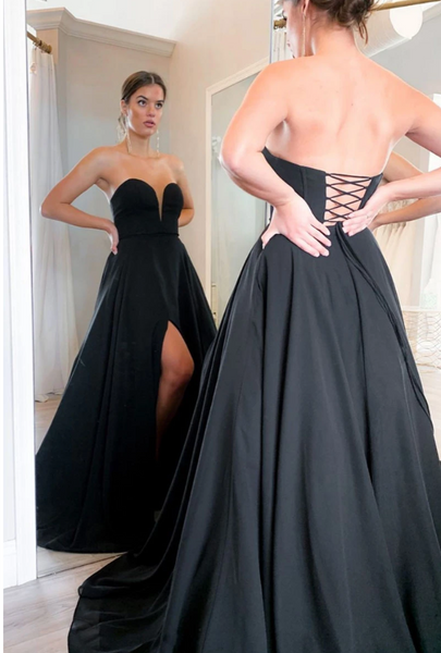 Black Prom Dress with Slit, Winter Formal Dress, Pageant Dance Dresses, Back To School Party Gown, PC0688