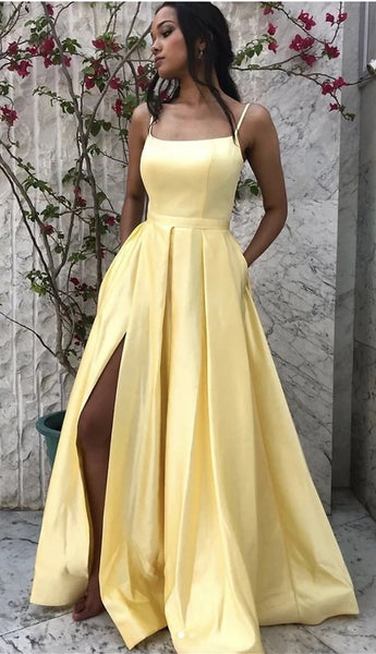 Yellow Prom Dress High Slit, Winter Formal Dress, Pageant Dance Dresses, Back To School Party Gown, PC0694