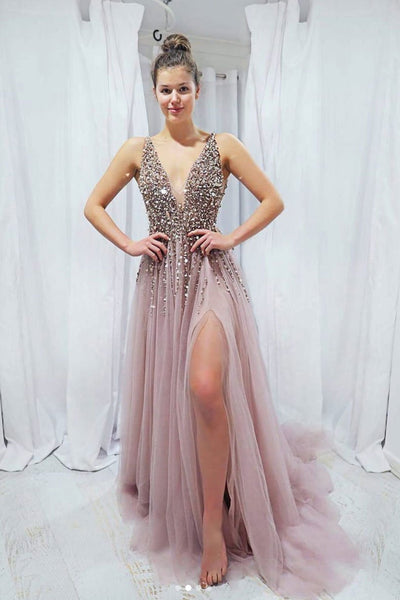 Sexy Prom Dress Slit Skirt, Prom Dresses Long, Formal Dress, Pageant Dance Dresses, School Party Gown, PC0701
