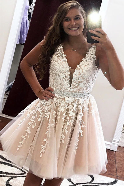 New Lace Homecoming Dress, Short Prom Dress ,Winter Formal Dress, Pageant Dance Dresses, Back To School Party Gown, PC0645