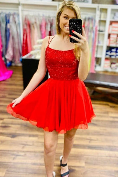 Red Homecoming Dress, Short Prom Dresses, Formal Dress, Evening Dress, Pageant Dance Dresses, School Party Gown, PC0708
