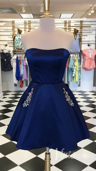 Navy Homecoming Dress, Short Prom Dress ,Winter Formal Dress, Pageant Dance Dresses, Back To School Party Gown, PC0661