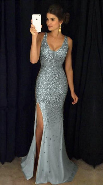 Sexy Prom Dress with Slit, Evening Dress ,Winter Formal Dress, Pageant Dance Dresses, Graduation School Party Gown, PC0154 - Promcoming