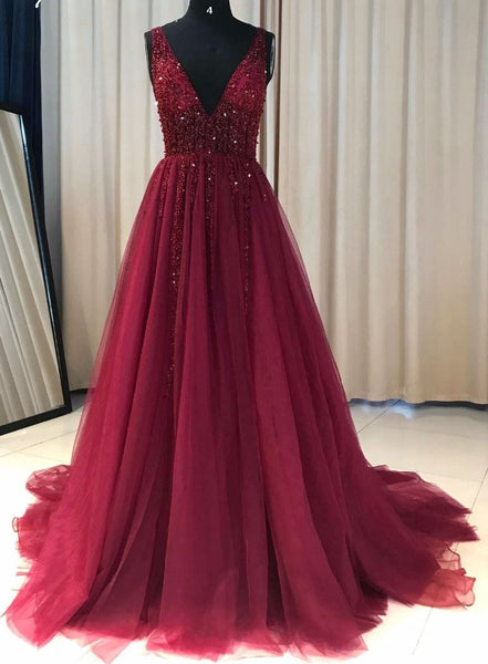 Beaded Prom Dress A-Line, Prom Dresses, Evening Dress, Dance Dress, Graduation School Party Gown, PC0380 - Promcoming