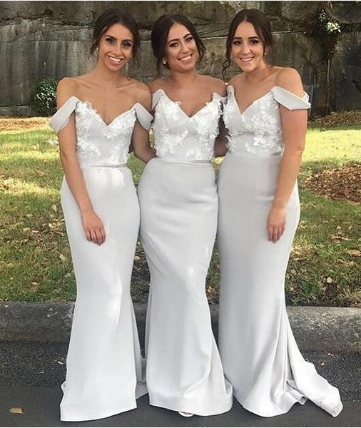 Mermaid Bridesmaid Dresses Off The Shoulder Straps, Bridesmaid Dress, Wedding Party Dress, Dresses For Wedding, NB0034