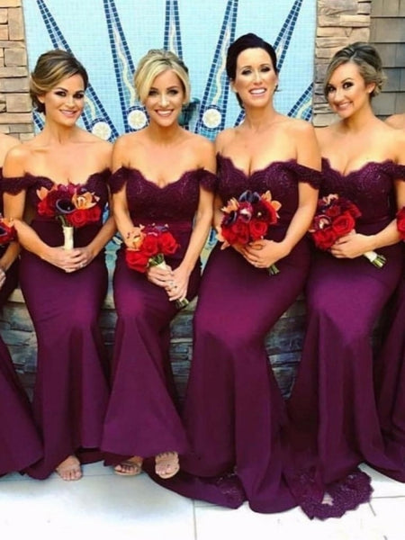 Mermaid Bridesmaid Dresses Off The Shoulder Straps, Bridesmaid Dress, Wedding Party Dress, Dresses For Wedding, NB0033