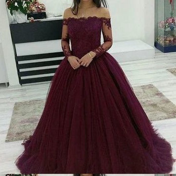 Purple Prom Dress Off The Shoulder Sleeves, Evening Dress, Dance Dress, Graduation School Party Gown, PC0431 - Promcoming