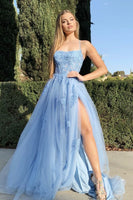 Sky Blue Prom Dress with High Slit, Homecoming Dress ,Winter Formal Dress, Pageant Dance Dresses, Back To School Party Gown, PC0621 - Promcoming