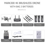 Drone com camera 4k 1,6km 8MP com camera HD 5G Wifi GPS Brushless 1806 Comando por gestos 1600 metros Mark3001 Profissional