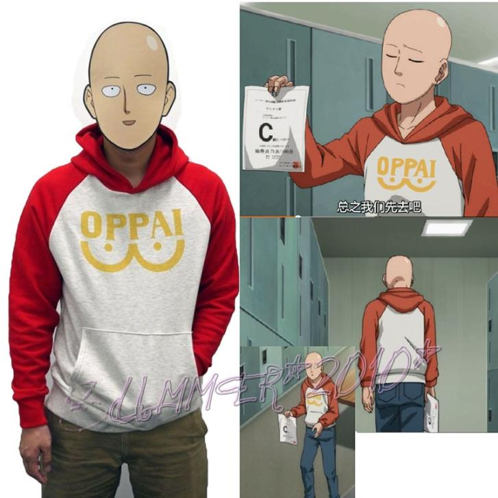 Saitama One Punch Man Oppai Hooded Sweatshirt - Hoodie Cosplay Costume