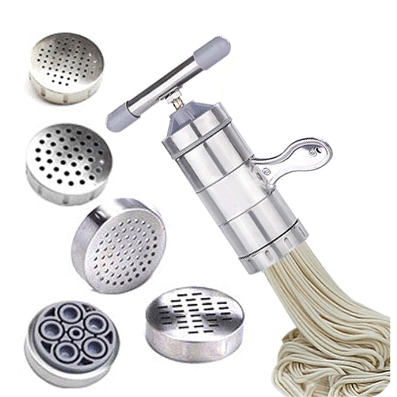 Manual Crank Noodle Maker Press - Pasta Machine Cutter Fruits Juicer Cookware With 5 Pressing Moulds Making Spaghetti Kitchenware