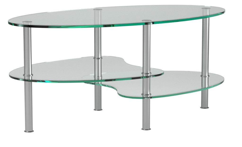 Ryan Rove Ashley - Oval Two Tier Glass Coffee Table - Coffee Tables for Living Room, Kitchen, Bedroom - Office - Glass Shelves Under Desk Storage - Silver and Clear Glass