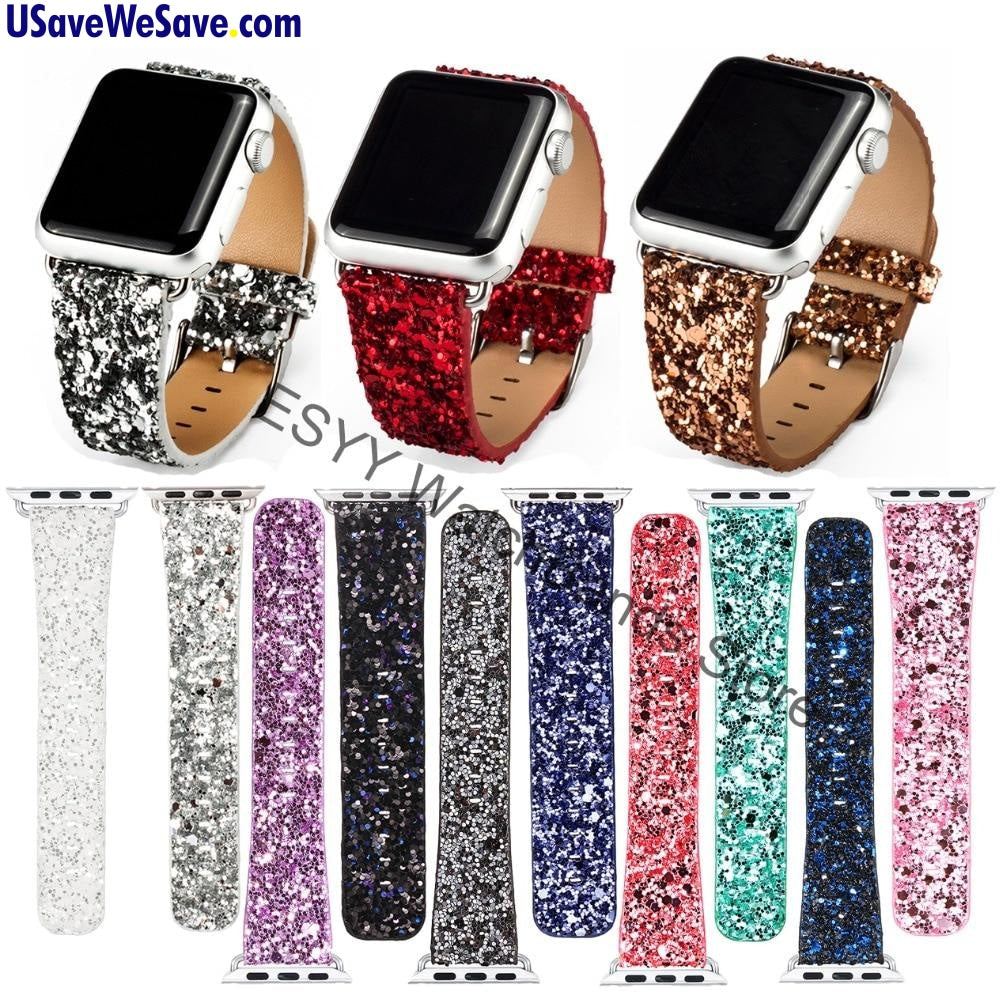 GLITTER POWER Luxury Leather Band for Apple Watch Series 4/3 - 38mm/42mm