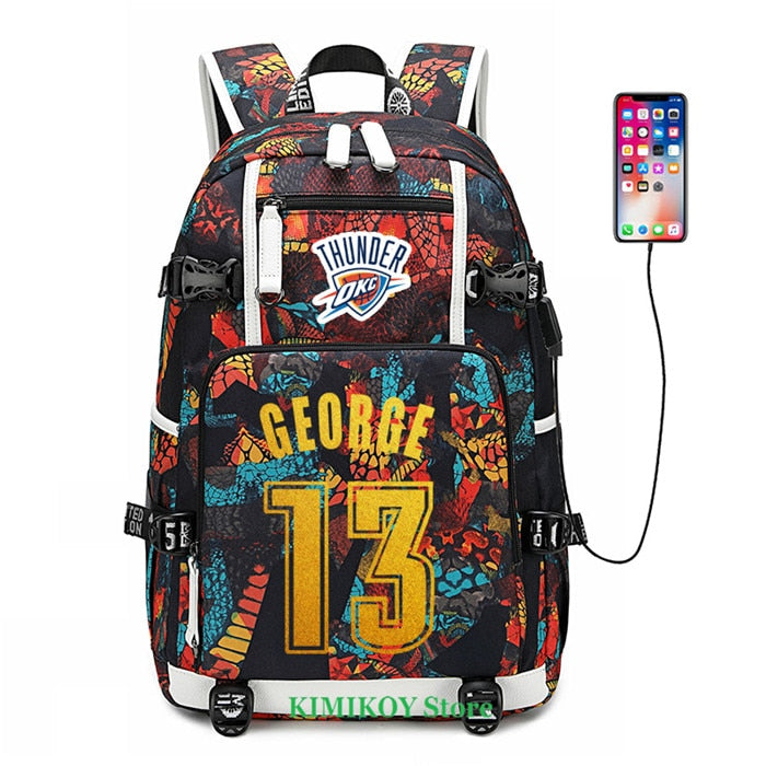 NBA Star Player Waterproof Travel Backpack - George Jordan Rose Westbrook