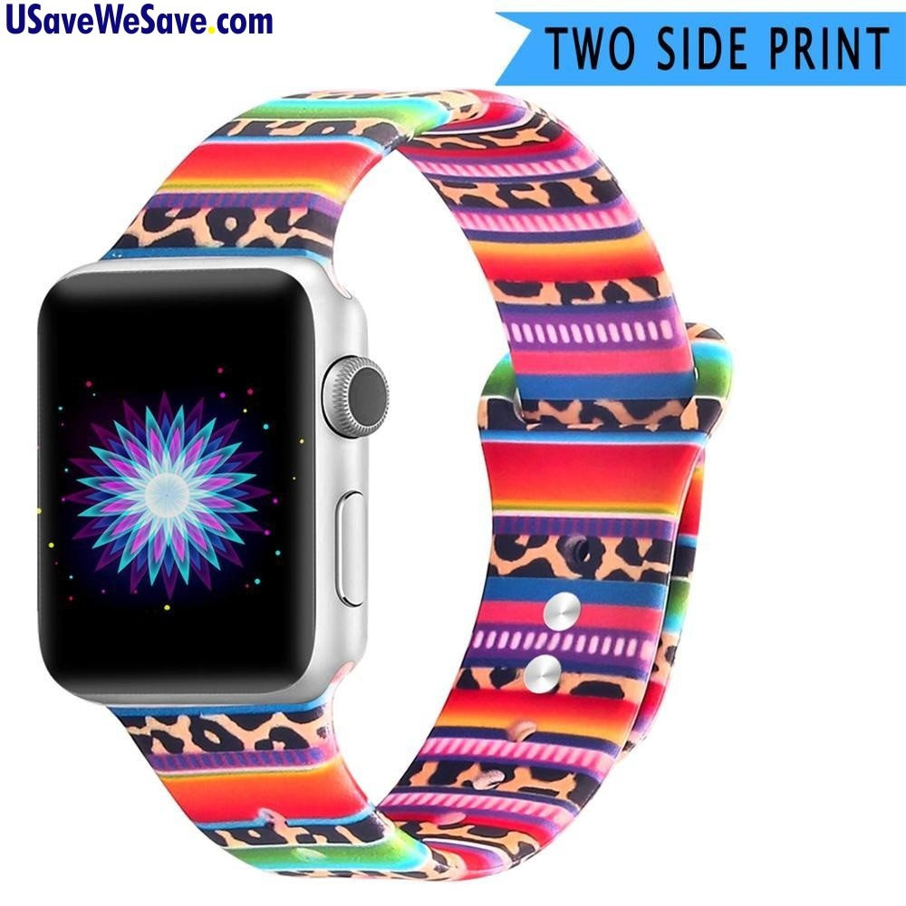 Double-Sided Silicone Flower Sport Band for Apple Watch Series 4 3 2 1 - 38mm 40mm 42mm 44mm