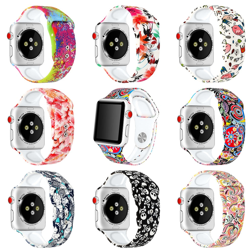 Decorative Strap for Apple Watch Series 4 3 - 38mm 40mm 42mm 44mm - Sport Silicone
