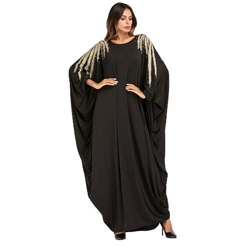 Golden Beading And Embroidery Shoulder Batwin Sleeve Islamic Clothes Abaya Clothing Turkish Islamic Muslim Women Dress