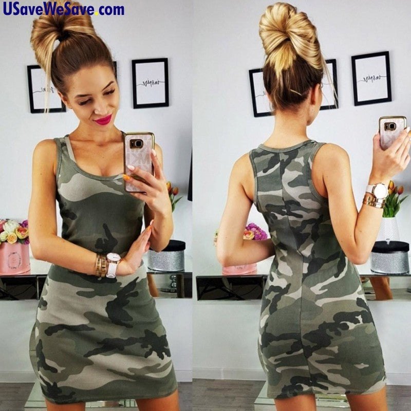 New Summer Fashion Women's Sexy Tank Dress Slim Casual Camouflage Military O-Neck Mini Dresses