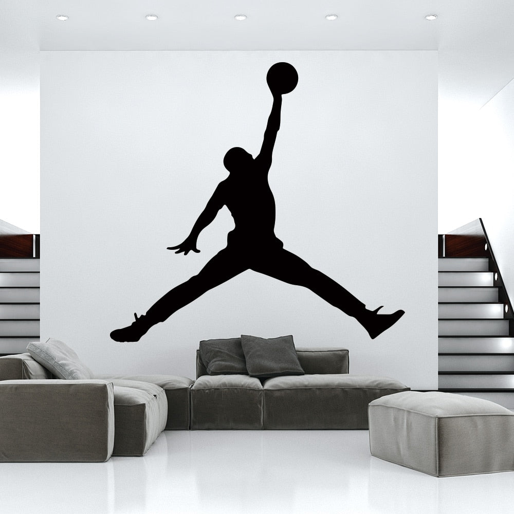 Hot Jordan basketball vinyl wall Sticker WallPaper For Kids Room bedroom Decor mural GYM room Decoration Accessories wallsticker